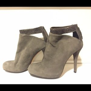Gray suede and snake booties size 37