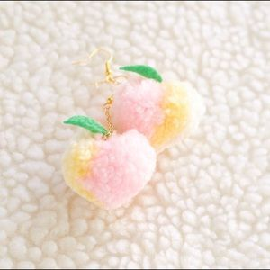 Peach Pom Pom Dangle Earrings kawaii pastel Goth