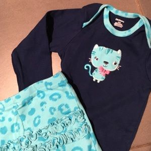 Gerber Other - Blue Kitty Cat Onesie with Ruffle Bottom Pants