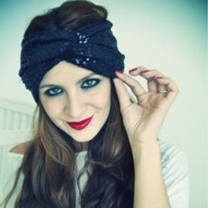 Accessories - Black head wrap with sequins.