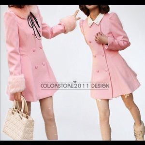 Pink wool,pea coat with fur trim that is removable