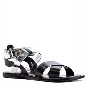 Diba Shoes - Diba True Black Silver Metallic Leather Sandals