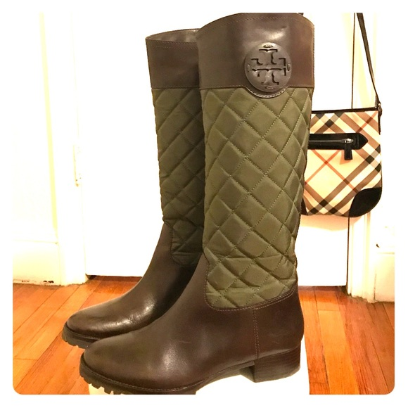 bfc3f43a207 Tory Burch Quilted Green and Brown Leather Boots. M 58896a01d14d7b408b010903