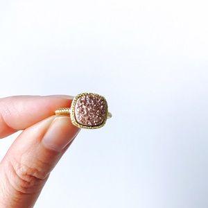 Rose Gold Druzy Princess Cut Titanium Twist Ring