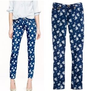 J Crew Cropped Matchstick Indigo Floral Jeans  28