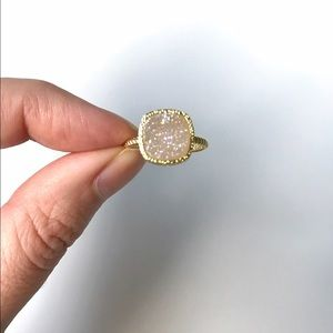 Frosted Opal Druzy Crystal Princess Gold Ring