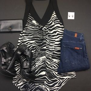 Pleione Tops - Pleione High Low Black and White Striped Tank