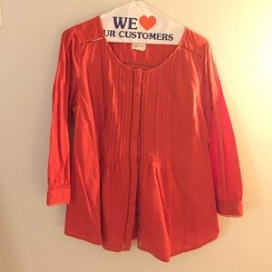 Anthropologie Tops - Anthropologie Orange Pintuck Blouse