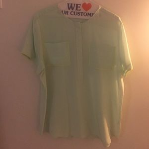 J. Crew Tops - J. Crew Mint Piped Silk Top