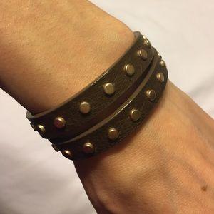 J. Crew Jewelry - J. Crew Leather Studded Wrap Bracelet