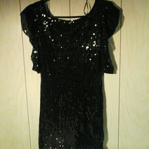 Black sequence party/cocktail dress, size Med, $20