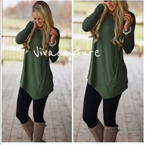 Vivacouture Tops - One Hour Sale 🦋Best Olive Side Button Tunic
