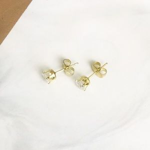 14k gold plated silver 5mm round CZ stud earrings