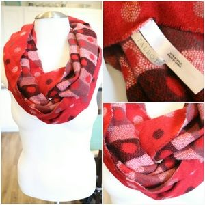 Talbots Red Polka Dot and Striped Infinity Scarf