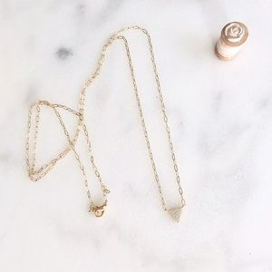CZ pave gold triangle long layering necklace