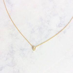 dainty gold cz hexagon choker necklace