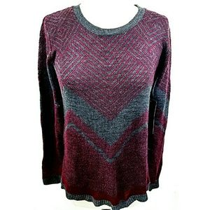 Say What? Sweaters - Burgundy and Gray Sweater