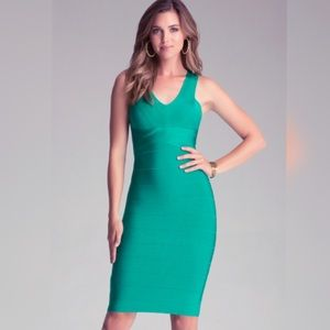 Like New Bebe green midi bandage dress knee length