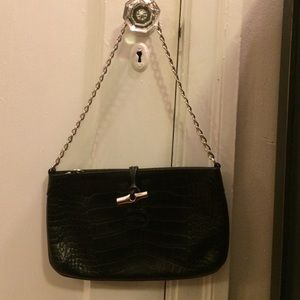 Longchamp Handbags - Longchamp Black Croc Leather Handbag