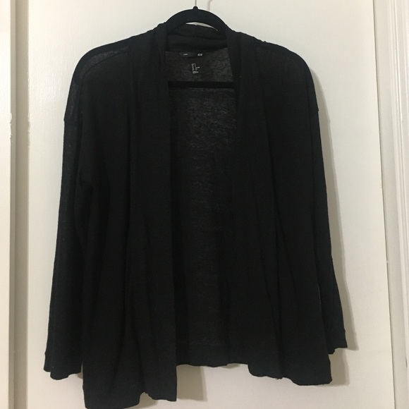 50% off H&M Tops - Black semi sheer cotton cardigan from Ashley's ...