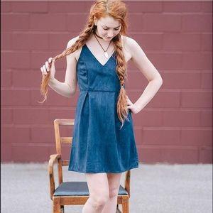 Navy Blue suede cross back dress