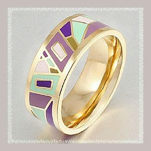 Jewelry - Geometric Enamel Ring