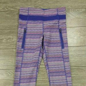 lululemon athletica Pants - Lululemon striped purple leggings, Size 2