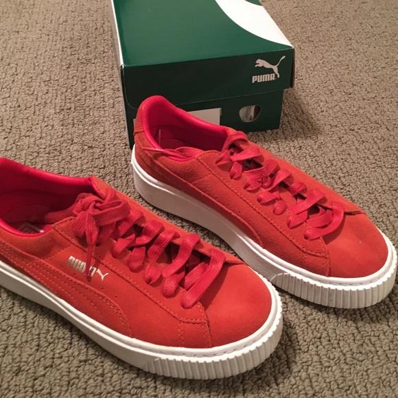 Worn once puma suede red platform shoe. M 5889a6e5f739bcff5c01fa60 278f12be8