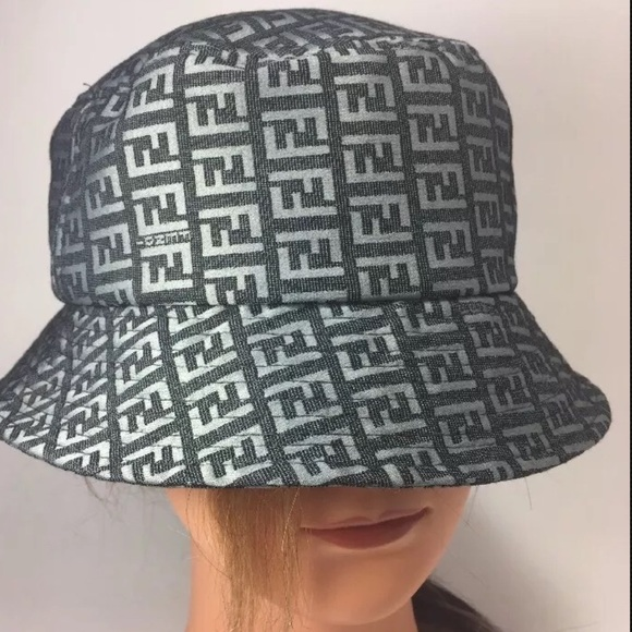 FENDI Accessories - Fendi Italy Gray Monogram Bucket Hat c88be2cf879