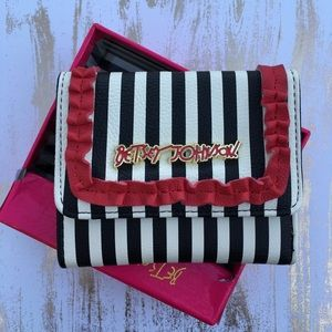 Betsey Johnson Handbags - Betsey wallet French stripe trifold gold red box