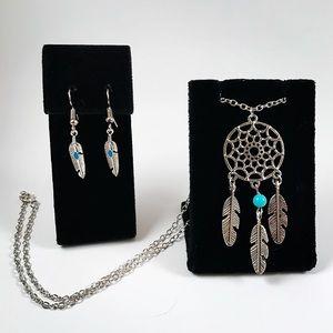 Jewelry - Women set feather earrings dream catcher necklace