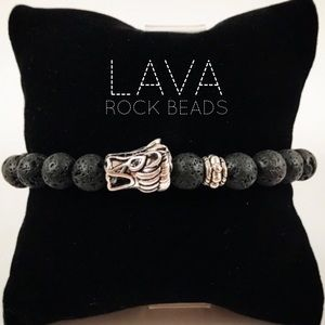 Genuine lava rock & dragon charm bead bracelet