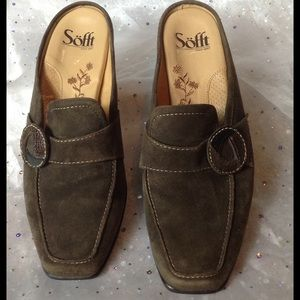 Sofft Shoes - Sofft Brown Suede Button Mules