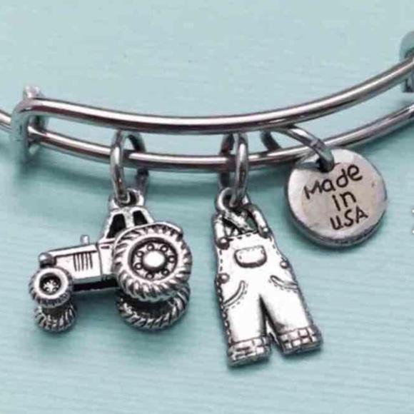 farm gift farmer jewelry personalised farmer bracelet farm bangle Tractor /& wheat charm bracelet with heart initial birthstone