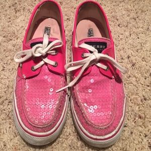 Sperry Top Sider pink sequin boat shoes