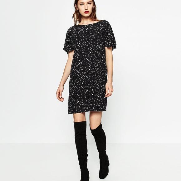 Zara Dresses - Zara black & white star print dress