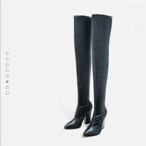 Zara stretch flat leather boots