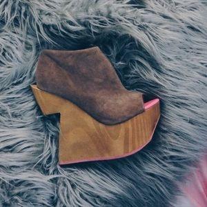 DV by Dolce Vita Shoes - DV8 Dolce Vita Brando Platform Wedge Gray Suede