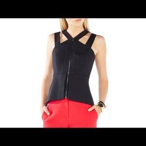 NWT BCBG maxazria raegan sleeveless peplum top