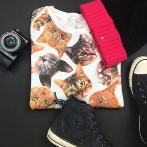 FREEZE Tops - FREEZE Cat Print Sweater