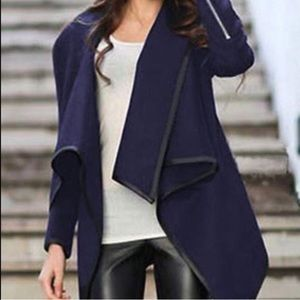 CHOISE Sweaters - Navy sweater jacket with leather trim