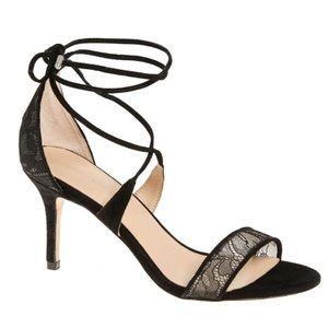Pour la Victoire Shoes - Pour La Victoire Black Lace Suede Sandals