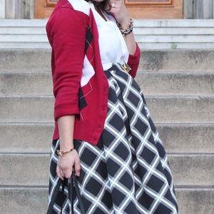 Merona Sweaters - Merona Red Argyle Print Cardigan