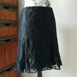 Authentic Chanel black lace pleated skirt sz 10/12