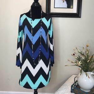 The Blossom Apparel Dresses & Skirts - Chevron Print Bell Sleeve Dress