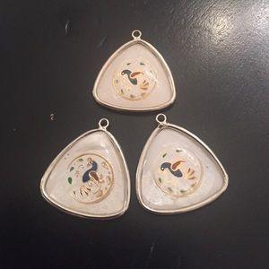 3 Amish bird charm pendants Cloisonné & lucite