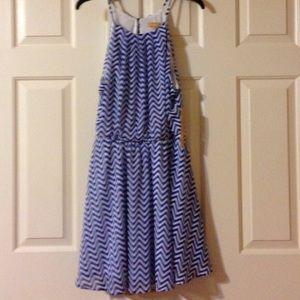Takara Dresses & Skirts - Takara Chevron Blue and White Dress