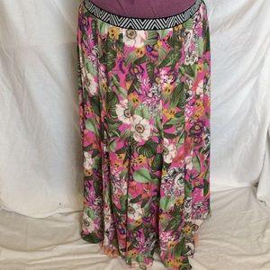 Anthropologie MaEve Pink Jungle Print Skirt