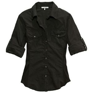 James Perse Tops - James Perse Black Contrast Panel Shirt 2 Small