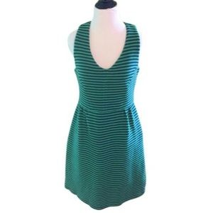 Boden Green and Blue Striped Sheath Scuba Dress